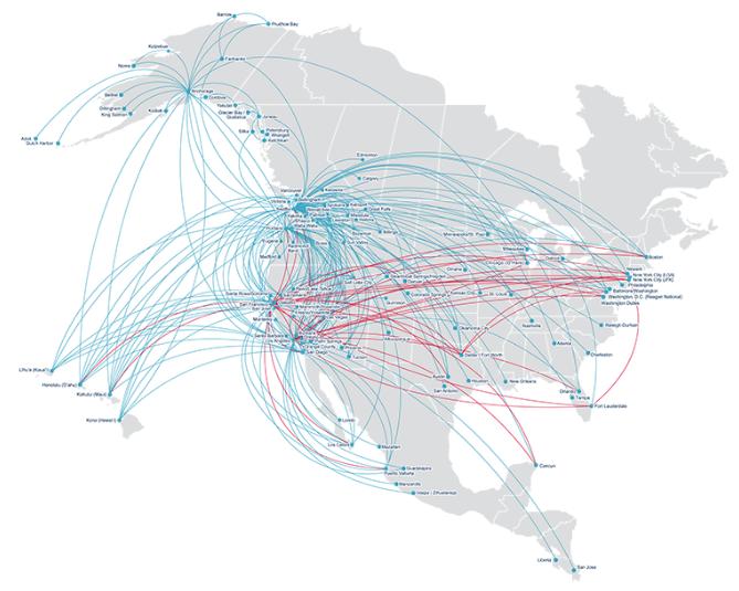 アラスカ航空ルートマップ