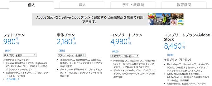 Adobe Creative cloudのパッケージ種類一覧