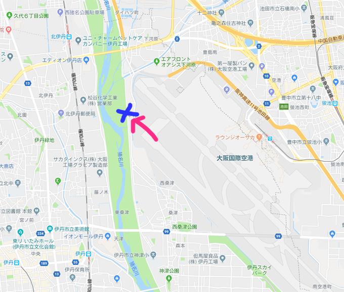 伊丹空港周辺マップ。滑走路から飛び立った飛行機が頭上を通るスポットはだいたいこのあたりになります。