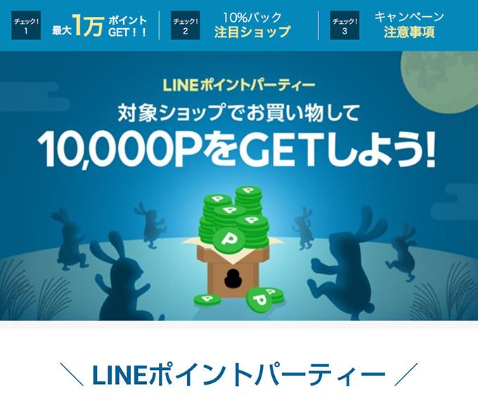 LINEポイントパーティーでは、最大10,000LINEポイントが貯まる大盤振る舞い。ANAマイルに交換すると、なんと8,100マイルになります。