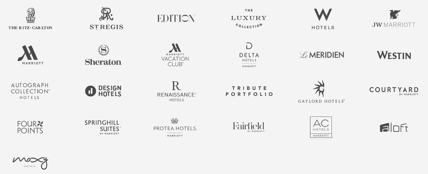 マリオット・インターナショナル傘下のホテルブランド一覧。29の著名なブランドが集う巨大ホテルグループである。リッツカールトンやシェラトン、ウェスティンなど聞いたことがある人は多いはず。