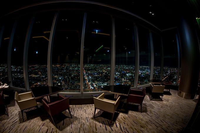 大阪マリオット都ホテルのレストランZK、西側の眺め