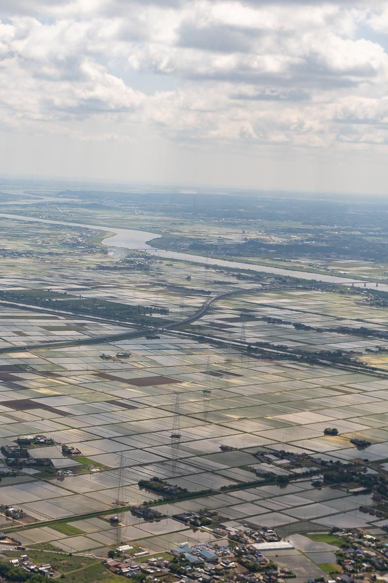 ANA成田便からみた着陸前の風景。関東平野に広がる田植え前の田んぼ。