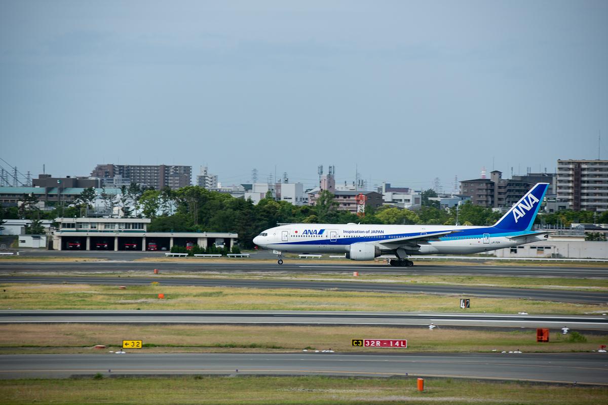 伊丹空港滑走路を離陸する航空機。通常とは逆のRWY14(ワンフォー)運用。