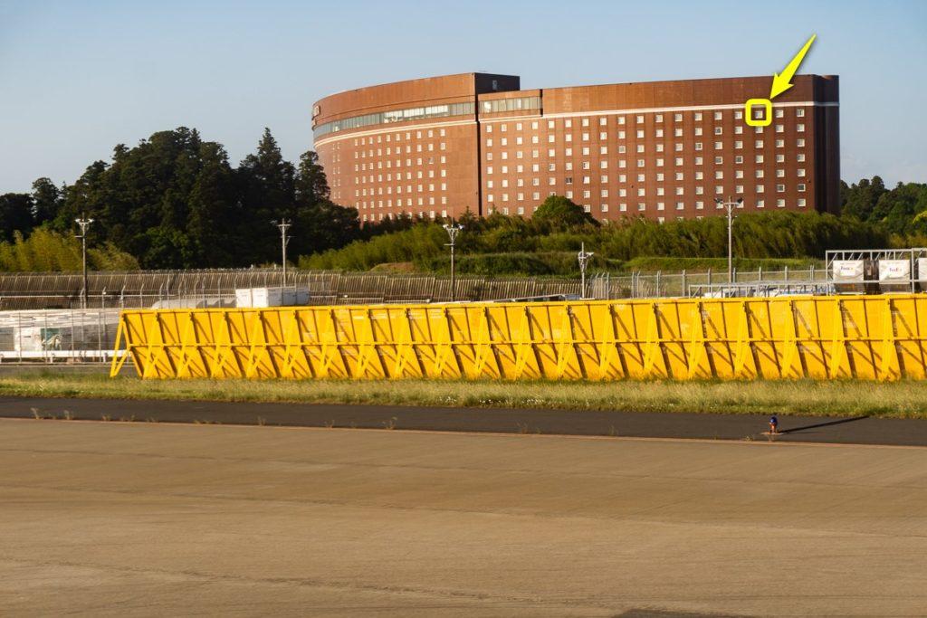マロウドインターナショナル成田外観。宿泊した1294号室は黄色の□で囲んだ部分。